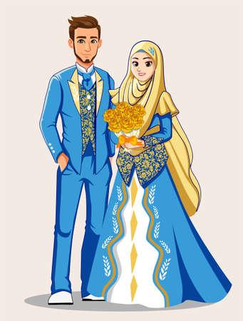블루 화이트 이슬람 웨딩 드레스