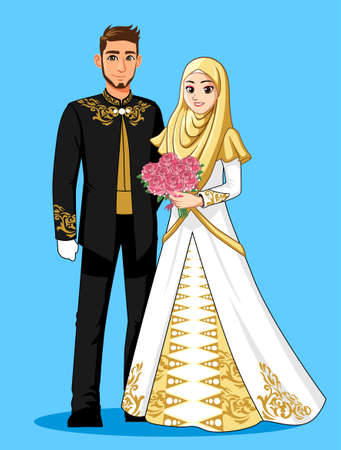 Gold White Black Muslim Wedding Dress