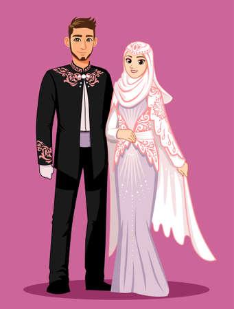 핑크 퍼플 이슬람 웨딩 드레스