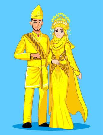 Sumatera Muslim Wedding Couple Çizim