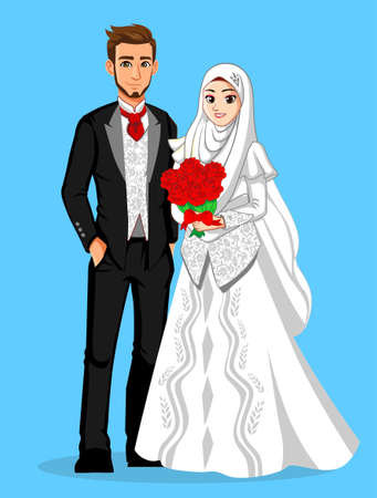 Muslim Internasional Wedding Couple Illustration
