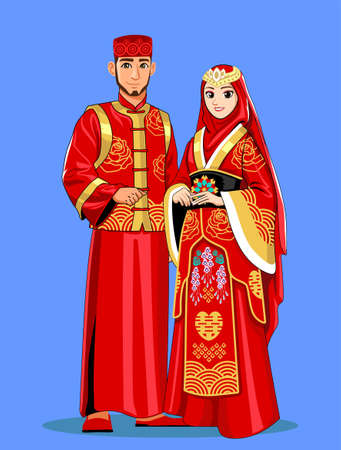 Red Chinese Muslim Wedding Couple Banque d'images - 127331764