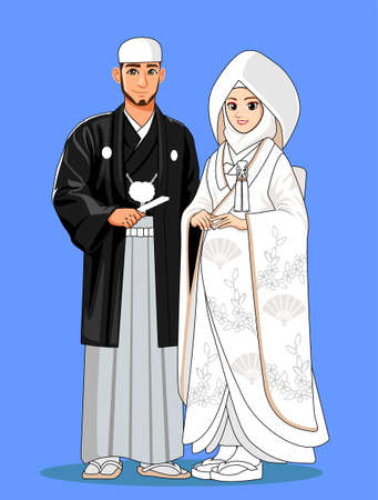 White Japan Muslim Wedding Couple Banque d'images - 127331767