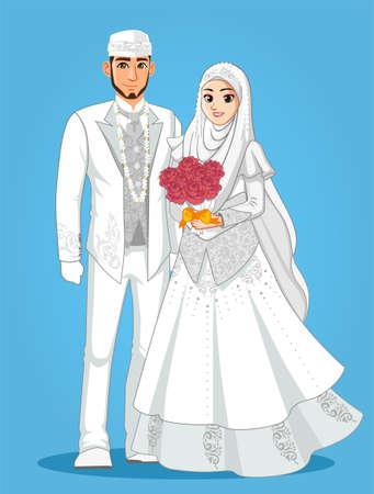 Pareja de boda musulmana blanca