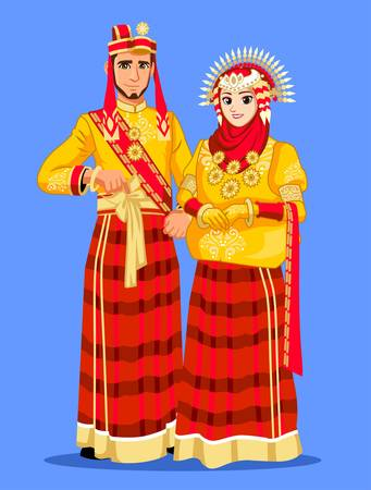 Red Yellow Bugis Muslim Wedding Couple Illustration