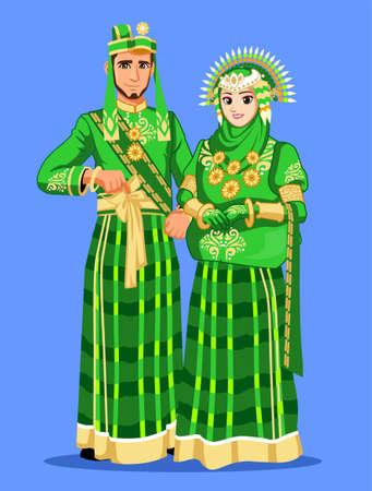 Green Bugis Muslim Wedding Couple