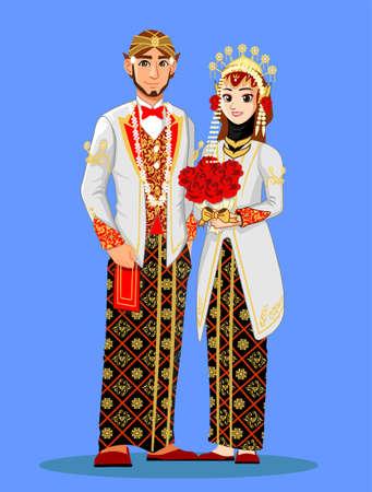 White Javanese Muslim Wedding Couple 스톡 콘텐츠 - 127331782
