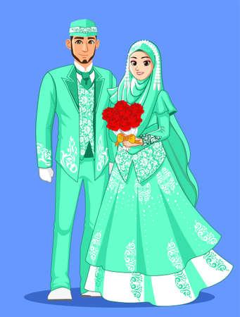 Tosca Muslim Wedding Couple Vectores