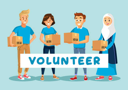 Volunteer for humanity with blue t-shirt