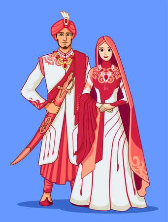Pakistani brides with traditional dress. Illustration