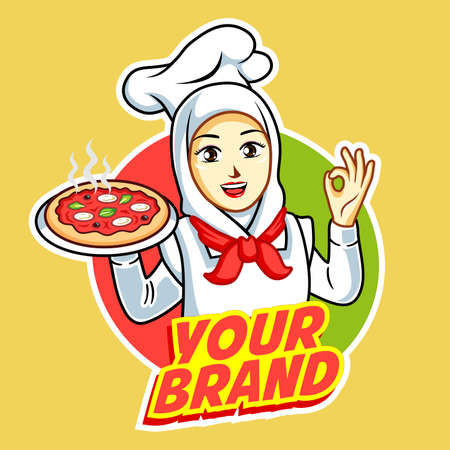 Pizza woman chef with pizza plate in hand. 일러스트