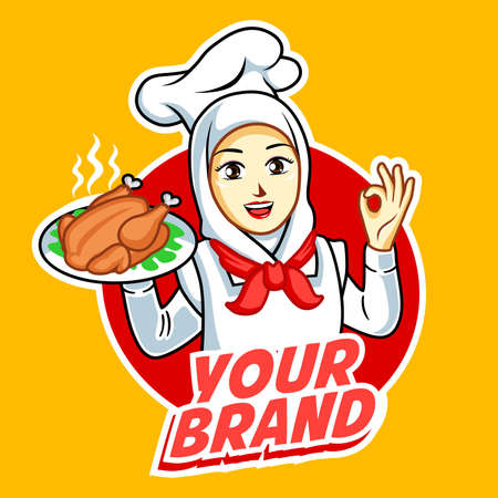 Woman chef with grilled chicken on hand Banque d'images - 130844168