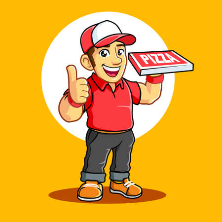 Pizza Delivery Boy with Thumb finger 일러스트