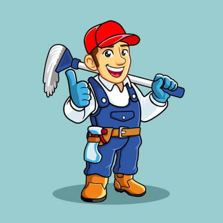 The Cleaning  Service Blue uniform, sprayer,mop broom