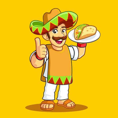 Taco Man Poncho uniform sombrero mustache Vectores