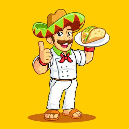 Taco Man white uniform sombrero mustache Vectores