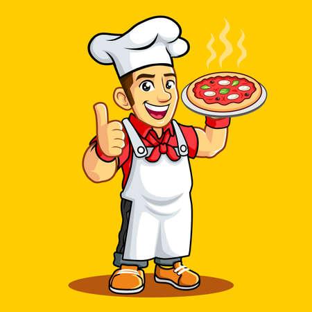 Pizza Chef Headkerchief Apron Toque Illusztráció