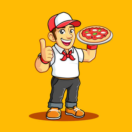 Pizza Delivery Man with White Uniform, Pizza pan, Red headkerchief, Thumb. 일러스트