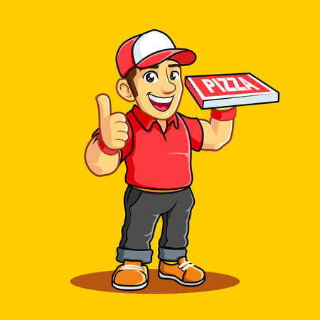 Pizza Delivery Man with Red Uniform, Pizza box, and Thumb.