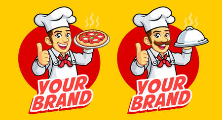 Two Chef man mascot logo good for food business and culinary
