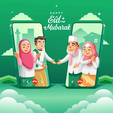 Illustration of muslim people communicate online through smartphone video call in eid mubarak