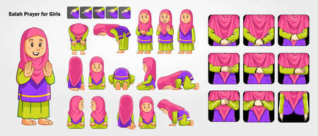 Salah prayer for girls. with pink and green casual hijab.