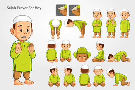 Salah prayer for boys with green suits. Vector Illustration