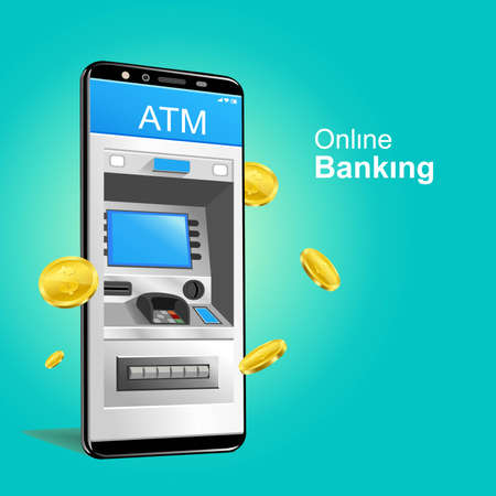 automatic teller machine Online banking smartphone vector with gold coins