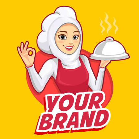 The mascot of a woman chef wearing a red apron with OK fingers. Vectores