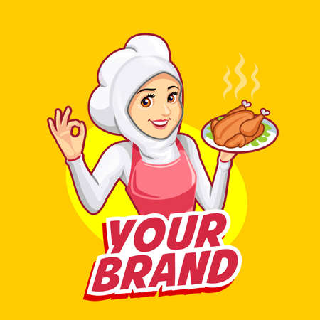 The mascot of a woman chef wearing a pink apron
