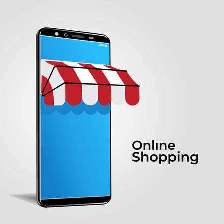 Online shop smartphone illustration for social media and advertisement Vectores