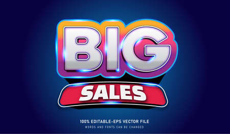 BIG SALE 3 text effect and editable font