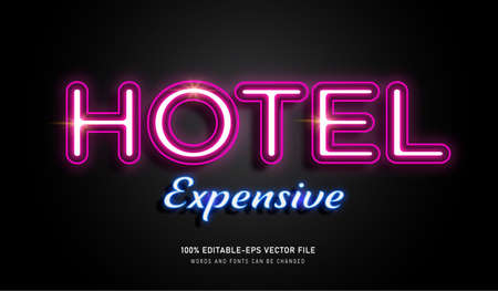 HOTEL NEON LAMP TEXT EFFECT