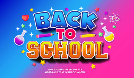 BACK TO SCHOOL text effect and editable font