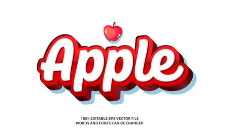 APPLE TEXT EFFECT AND EDITABLE FONT Vectores