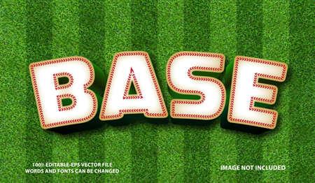 Baseball text effect and editable font