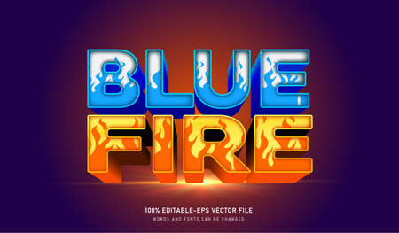 BLUE ICE AND RED FIRE TEXT EFFECT Vectores
