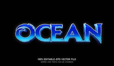 Ocean ice text effect and editable font