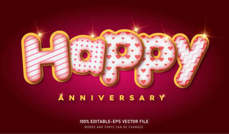 HAPPY ANNIVERSARY TEXT EFFECT AND EDITABLE FONT