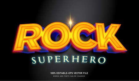 Rock Superhero text effect and editable font Ilustração Vetorial