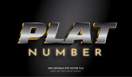 Platinum Number text effect and editable font