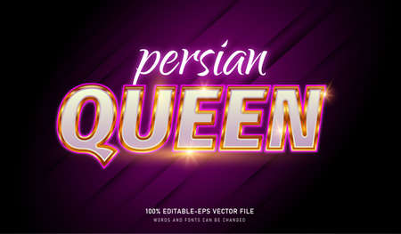 Persian Queen text effect and editable font Vectores