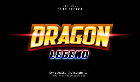 Dragon Legend text effect and editable font Vectores