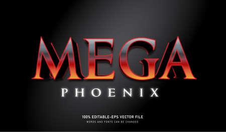 Mega Phoenix text effect and editable font Vectores