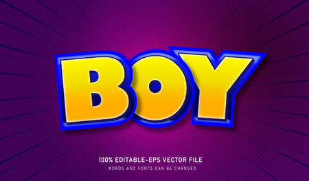 Boy Text Effect and editable font Vectores