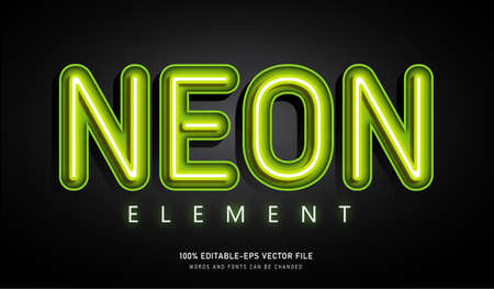 Neon Element text effect and editable font
