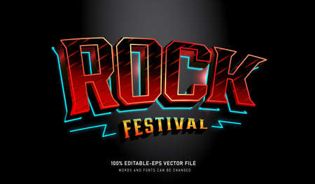 Rock Festival text effect and editable font Vectores