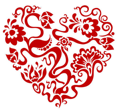 Vector illustration of the red floral heart