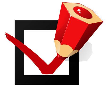 """Vakje en rood potlood te schrijven op """"OK"""" Stockfoto - 28132677"""