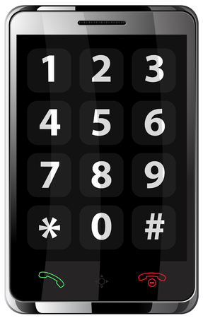using voice: Mobile phone with touchscreen (communicator) in steel body.